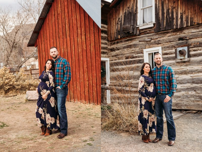 Couple next to an old barn